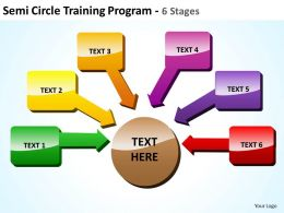 semicircle training program 6 stages with shiny boxes and arrows inwards powerpoint templates 0712
