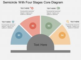 Semicircle With Four Stages Core Diagram Flat Powerpoint Design