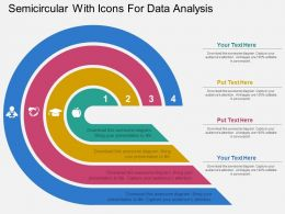 Semicircular With Icons For Data Analysis Flat Powerpoint Design