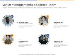 Senior Management Leadership Team Post Initial Public Offering Equity Ppt Infographics