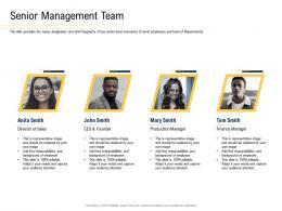 Senior Management Team Convertible Securities Funding Pitch Deck Ppt Powerpoint Presentation Summary