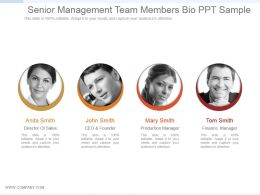 Senior Management Team Members Bio Ppt Sample