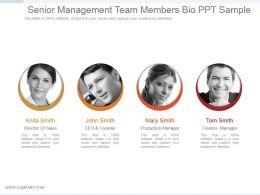 Senior Management Team Members Bio Ppt Sample