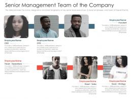 Senior Management Team Of The Company Investment Pitch Presentations Raise Ppt Images