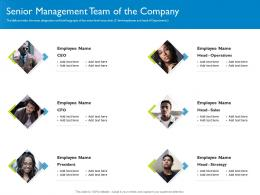 Senior Management Team Of The Company Investor Pitch Deck For Hybrid Financing Ppt Guide