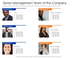 Senior Management Team Of The Company Mezzanine Capital Funding Pitch Deck Ppt Visual