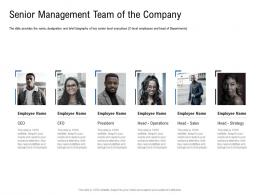 Senior Management Team Of The Company Pitch Deck To Raise Funding From Spot Market Ppt Icons