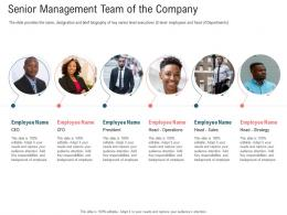 Senior Management Team Of The Company Secondary Market Investment Ppt Clipart