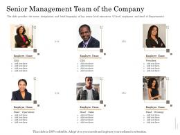 Senior Management Team Of The Company Subordinated Loan Funding Pitch Deck Ppt Powerpoint Slides