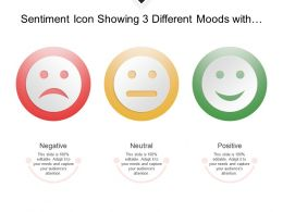 Sentiment Icon Showing 3 Different Moods With Negative Neutral Positive Mood