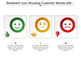Sentiment Icon Showing Customer Moods With Thumbs Up And Thumbs Down
