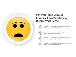 Sentiment Icon Showing Frowning Face With Strongly Disagreement Mood