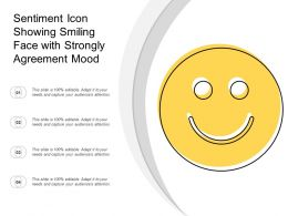Sentiment Icon Showing Smiling Face With Strongly Agreement Mood