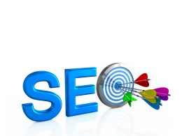 Seo Letters With Arrows Hitting The Center Of Target Stock Photo