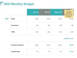 SEO Monthly Budget Ppt Powerpoint Presentation Portfolio