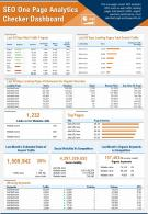 SEO One Page Analytics Checker Dashboard Presentation Report Infographic PPT PDF Document
