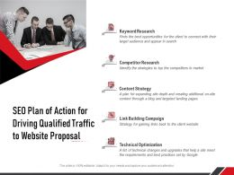 SEO Plan Of Action For Driving Qualified Traffic To Website Proposal Ppt Professional Template