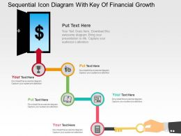 Sequentia Icon Diagram With Key Of Financial Growth Flat Powerpoint Design