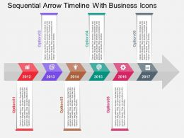 Sequential Arrow Timeline With Business Icons Flat Powerpoint Design
