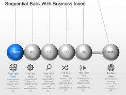 Sequential Balls With Business Icons Powerpoint Template Slide