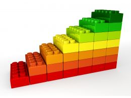 Sequential Bar Graph Made Of Lego Blocks Stock Photo