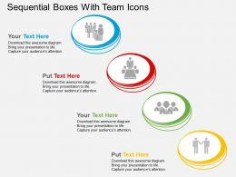 Sequential Boxes With Team Icons Flat Powerpoint Design