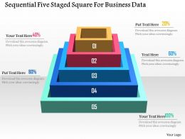 Sequential Five Staged Square For Business Data Powerpoint Template