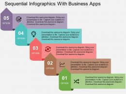 Sequential Infographics With Business Apps Flat Powerpoint Design