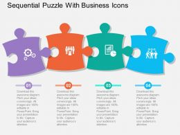 Sequential Puzzle With Business Icons Flat Powerpoint Design