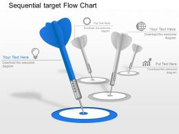 Sequential Target Flow Chart Powerpoint Template Slide