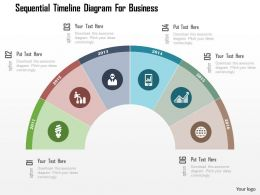 Sequential Timeline Diagram For Business Flat Powerpoint Design