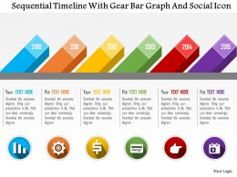 Sequential Timeline With Gear Bar Graph And Social Icon Flat Powerpoint Design
