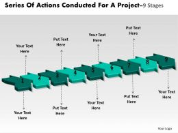 Series Of Actions Conducted For Project 9 Stages Flowchart Creator Powerpoint Templates