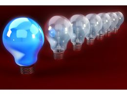 Series Of Glass Bulb With Blue Bulb As A Leader Stock Photo