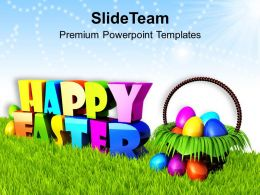 Sermon Easter Sunday Wishing Happy With Basket Of Eggs Powerpoint Templates Ppt Backgrounds For Slides