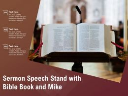 Sermon Speech Stand With Bible Book And Mike