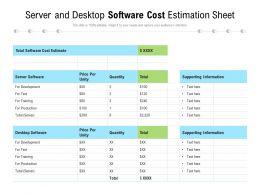 Server And Desktop Software Cost Estimation Sheet
