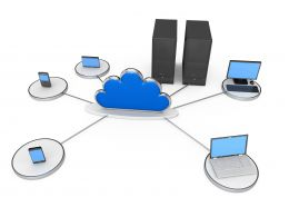 Server Computer Laptop Connected In Network Displaying Cloud Computing Stock Photo