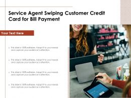 Service Agent Swiping Customer Credit Card For Bill Payment