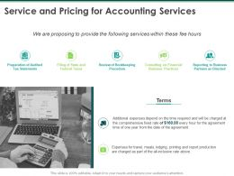 Service And Pricing For Accounting Services Ppt Powerpoint Presentation Inspiration Outfit
