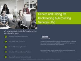 Service And Pricing For Bookkeeping And Accounting Services Ppt Powerpoint Slides