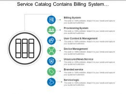 Service Catalog Contains Billing System Provisioning Management