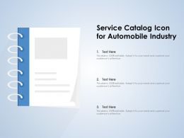 Service Catalog Icon For Automobile Industry