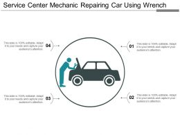 Service Center Mechanic Repairing Car Using Wrench