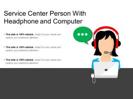 Service Center Person With Headphone And Computer