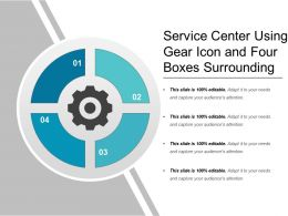 Service Center Using Gear Icon And Four Boxes Surrounding
