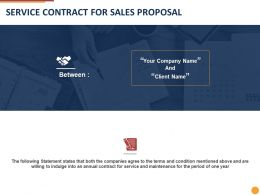 Service Contract For Sales Proposal Ppt Powerpoint Presentation Summary