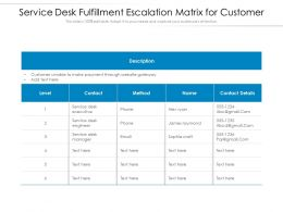 Service Desk Fulfillment Escalation Matrix For Customer