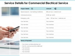 Service Details For Commercial Electrical Service Ppt Slides