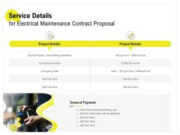 Service Details For Electrical Maintenance Contract Proposal Ppt Powerpoint Maker